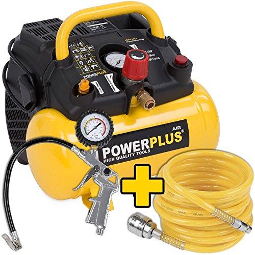 1.100 Watt Kompressor POWX1721 mit Spiralschlauch und Reifenfüller im Set