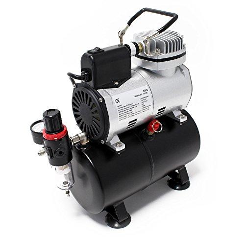 Airbrush Kompressor AF186 mit Lufttank Druckminderer 4 bar Start-Stop Automatik - 2