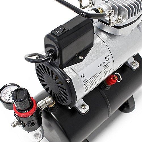 Airbrush Kompressor AF186 mit Lufttank Druckminderer 4 bar Start-Stop Automatik - 4