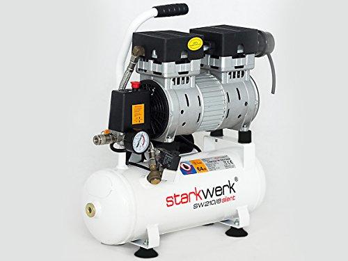Starkwerk Flüster Silent Druckluft Kompressor SW 210/8 Ölfrei 750Watt - 64db