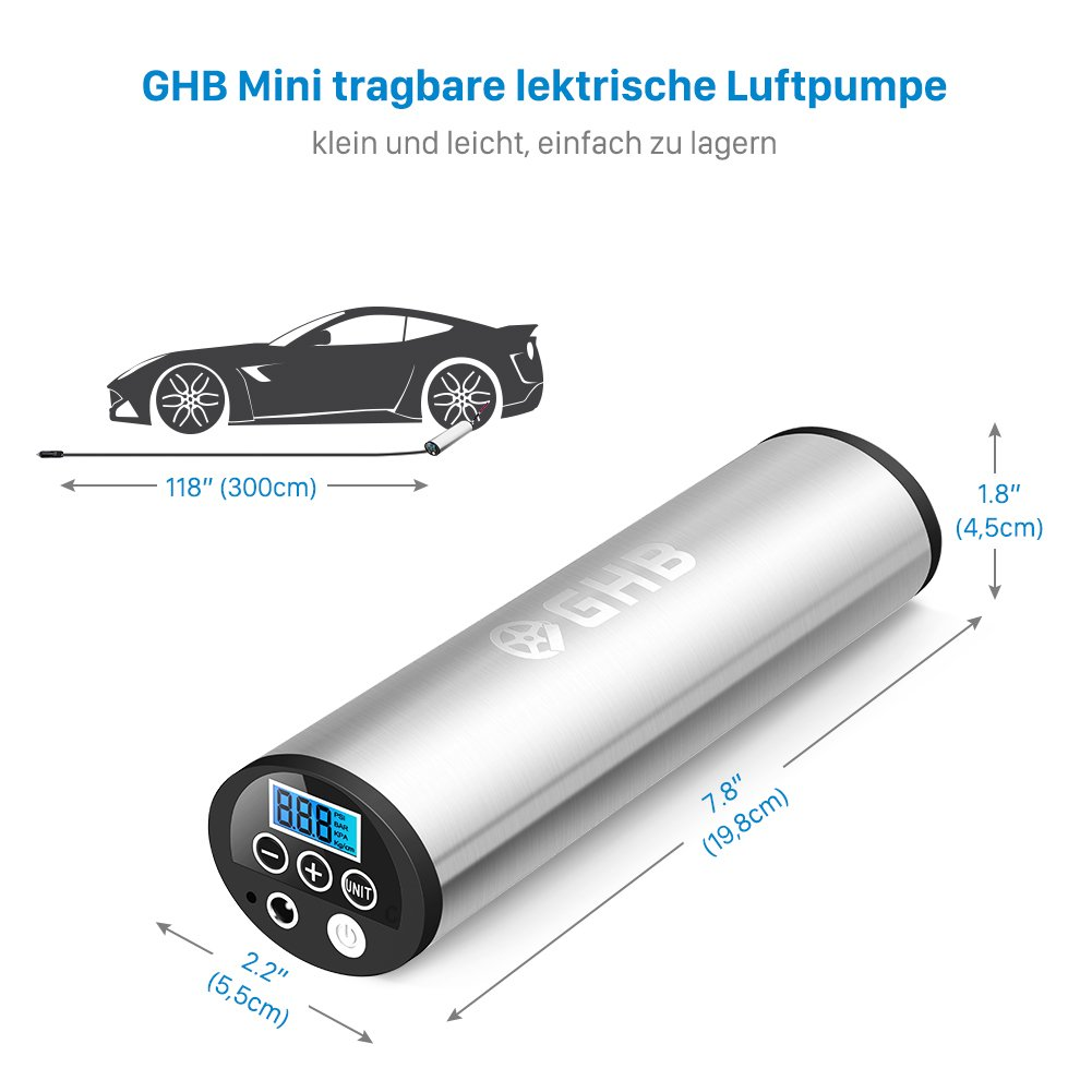 GHB Mini Auto-Luftpumpe Elektrischer Luftverdichter für Fahrrad Ball Ballon 150 PSI Portabel Aufladbar mit LCD-Display - 3