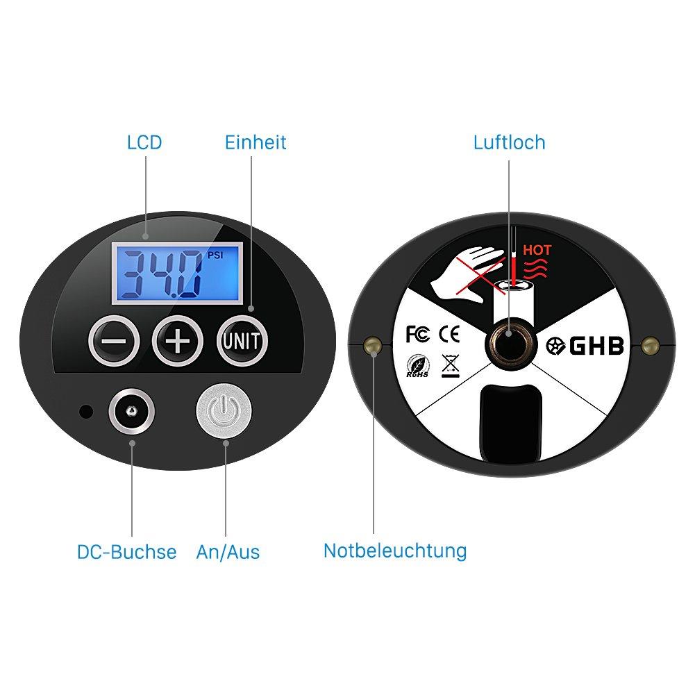 GHB Mini Auto-Luftpumpe Elektrischer Luftverdichter für Fahrrad Ball Ballon 150 PSI Portabel Aufladbar mit LCD-Display - 5