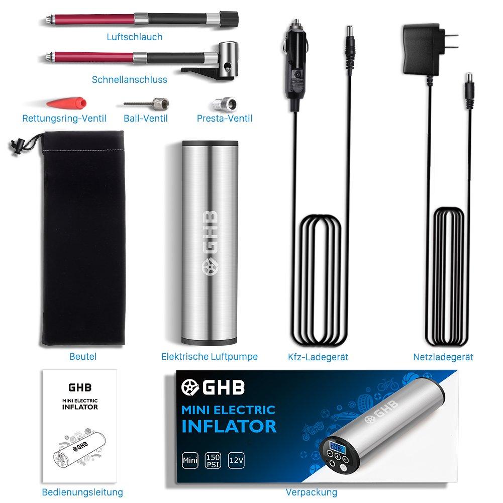 GHB Mini Auto-Luftpumpe Elektrischer Luftverdichter für Fahrrad Ball Ballon 150 PSI Portabel Aufladbar mit LCD-Display - 9