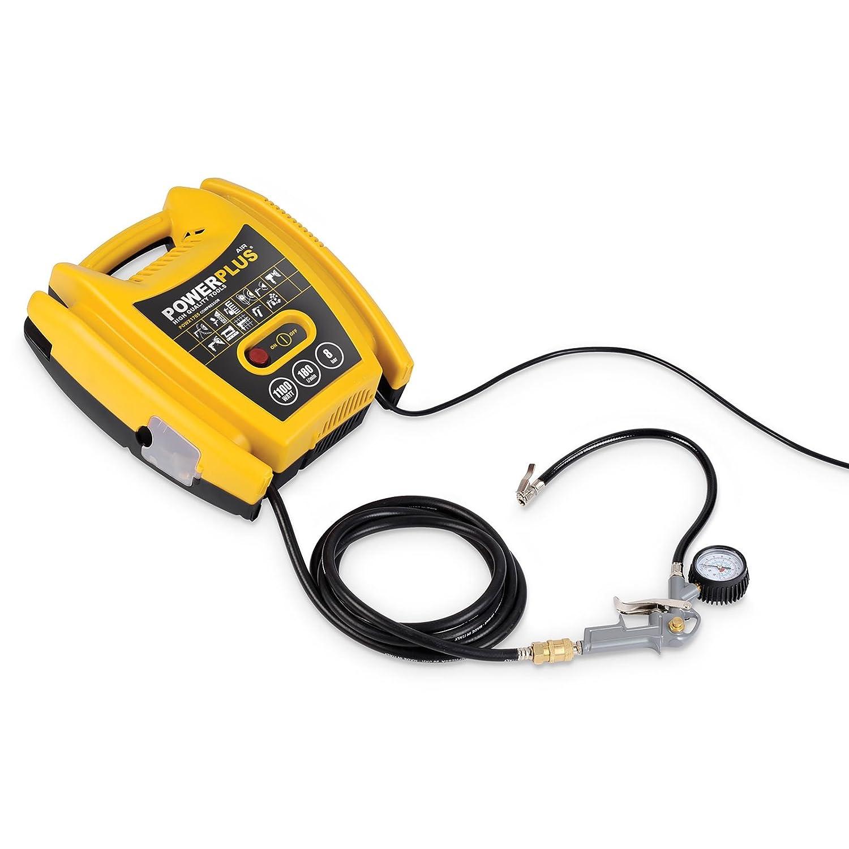 VARO POWX1705 elektrischer Druckluft Kompressor tragbar, 1.100 Watt (1,5 PS) max. 8 bar, inkl. Zubehör Anschluß 230 Volt - 3