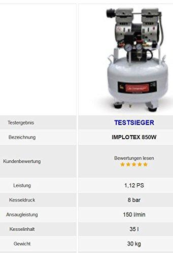 850W Silent Flüsterkompressor Druckluftkompressor nur 55dB leise ölfrei flüster Kompressor Compressor IMPLOTEX - 5