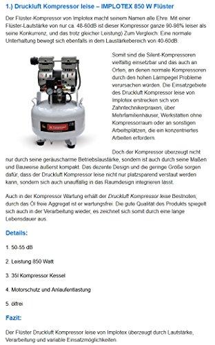 850W Silent Flüsterkompressor Druckluftkompressor nur 55dB leise ölfrei flüster Kompressor Compressor IMPLOTEX - 8
