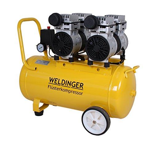 WELDINGER Flüsterkompressor FK 180 Ansaugleistung 120 l/ min 50 Liter Tank Druckluftkompressor ölfrei leise (60 dB) - 2