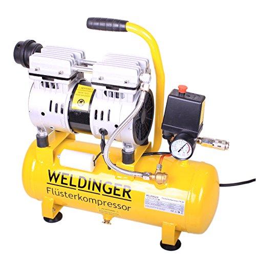 WELDINGER Flüsterkompressor FK 60 Ansaugleistung 60 l/ min 9 Liter Tank; 550 W Druckluftkompressor ölfrei wartungsfrei - 3