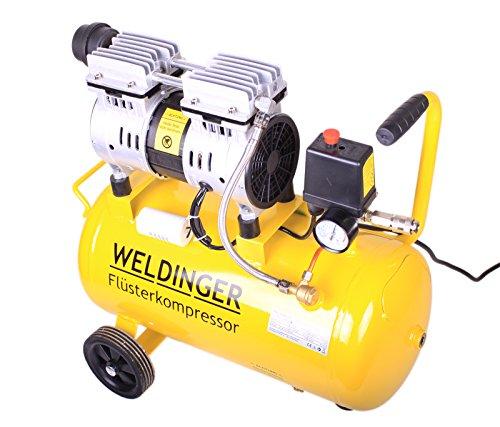 WELDINGER Flüsterkompressor FK 90 Ansaugleistung 90 l/min 25 Liter Tank leiser und ölfreier Druckluftkompressor (60 dB) - 3