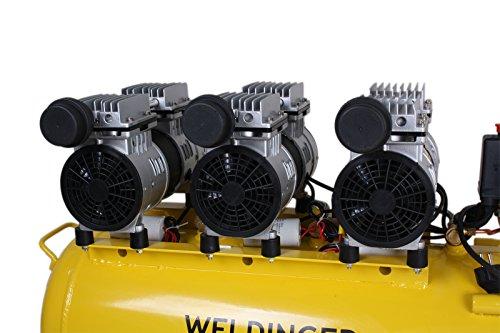 WELDINGER Flüsterkompressor FK 270 Ansaugleistung 270 l/ min 60 Liter Tank Druckluftkompressor ölfrei leise (60 dB) - 3