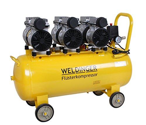WELDINGER Flüsterkompressor FK 270 Ansaugleistung 270 l/ min 60 Liter Tank Druckluftkompressor ölfrei leise (60 dB) - 4