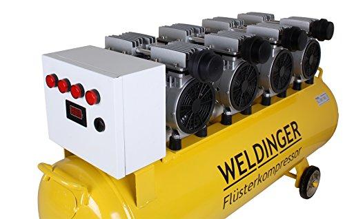 WELDINGER Flüsterkompressor FK 360 Ansaugleistung 360 Liter/ min Tank 90 Liter Druckluftkompressor ölfrei leise (60 dB) - 3