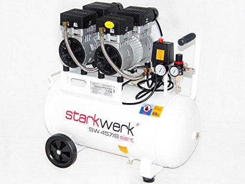 Starkwerk Silent Druckluft Kompressor SW 457/8 Ölfrei 50L Kessel Flüster Kompressor - 2